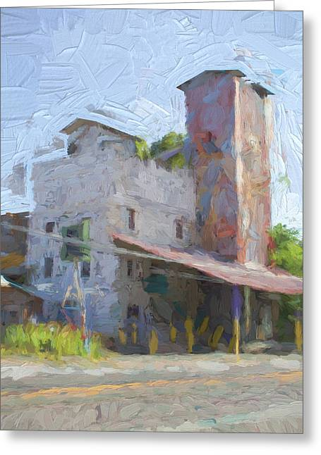 Old Feed Mills Photographs Greeting Cards - Johnson City Texas Old Feed Mill Greeting Card by JG Thompson