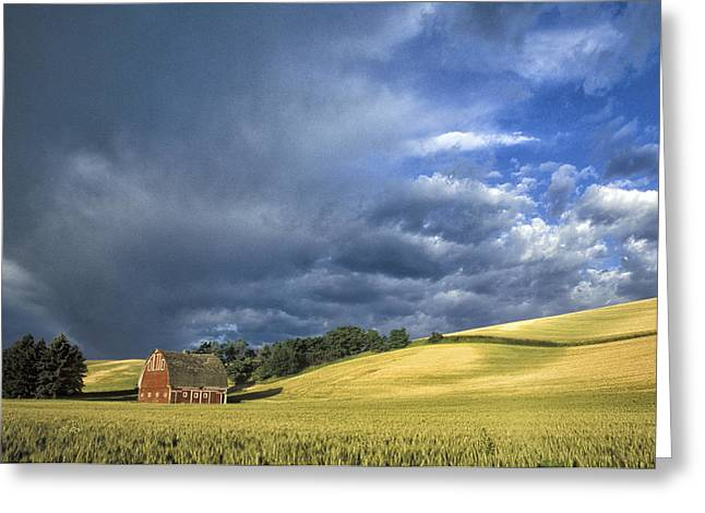 White Pine County Greeting Cards - Johnson Red Barn Greeting Card by Latah Trail Foundation
