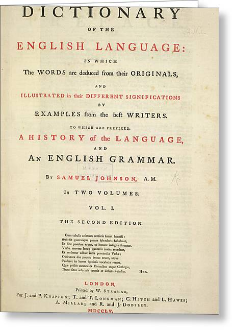 Johnson's Dictionary Greeting Card by British Library