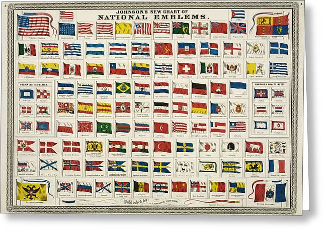 Johnsons New Chart Of National Emblems Greeting Card by Georgia Fowler