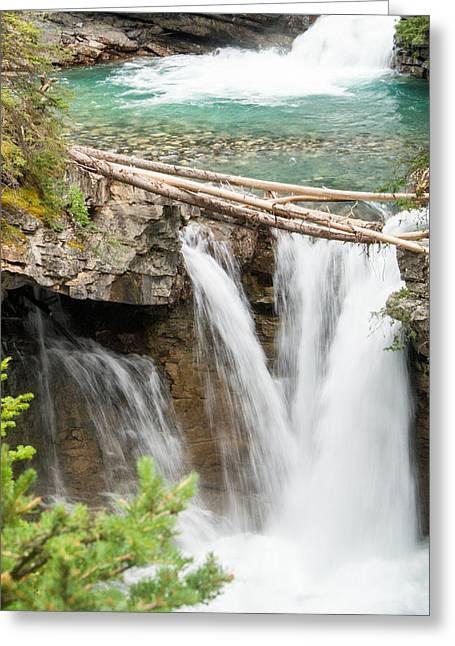 Johnston Greeting Cards - Johnston Canyon Double Waterfall Greeting Card by Douglas Barnett