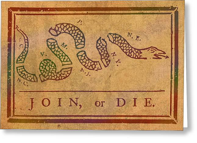 Join Greeting Cards - Join Or Die Benjamin Franklin Political Cartoon Pennsylvania Gazette Commentary 1754 on Parchment  Greeting Card by Design Turnpike