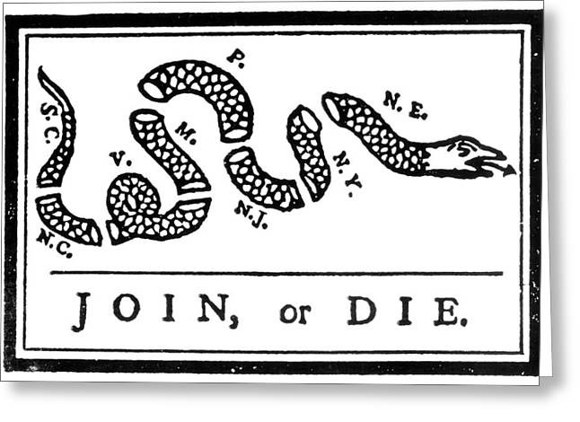 Join Or Die Greeting Cards - Join Or Die Cartoon, 1754 Greeting Card by Granger