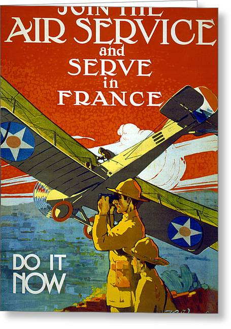 Military Airplanes Drawings Greeting Cards - Join The Air Service, 1917 Greeting Card by J. Paul Verrees