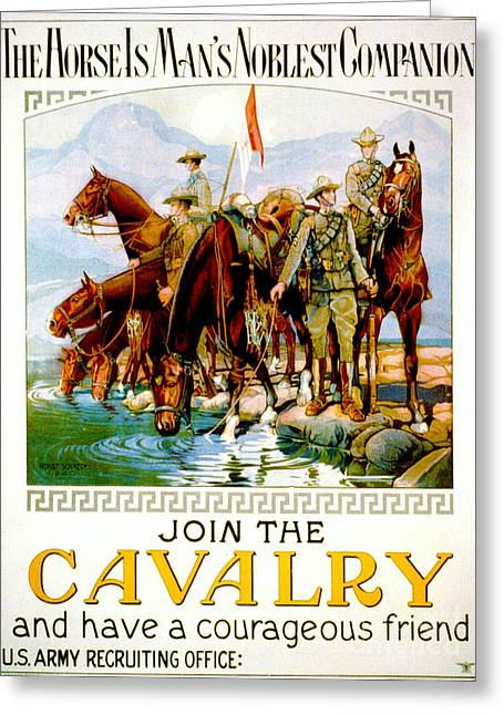 Enlistment Greeting Cards - Join the Cavalry 1920 Greeting Card by Padre Art