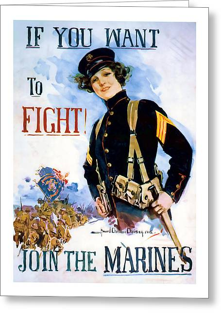 Patrotic Greeting Cards - Join the Marines  Vintage ww1 Art Greeting Card by Presented By American Classic Art