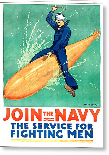 Us Navy Drawings Greeting Cards - Join The Navy Greeting Card by Gary Bodnar