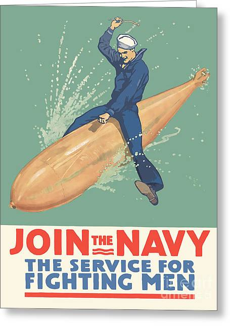 Armed Services Greeting Cards - Join the Navy the Service for Fighting Men Greeting Card by God and Country Prints