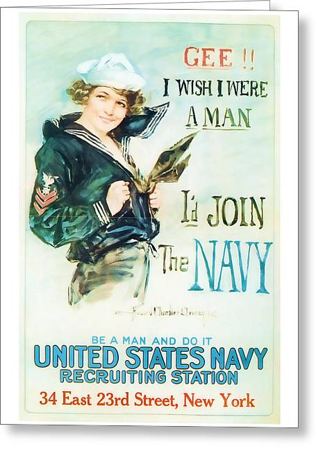 Join The Navy  Vintage Ww1 Art Greeting Card by Presented By American Classic Art