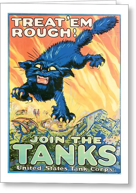 Franklin Roosevelt Mixed Media Greeting Cards - Join The Tanks Word War 1 Enlistment Art Greeting Card by Presented By American Classic Art