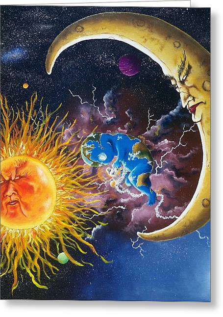 Outer Space Paintings Greeting Cards - Joint Custody Greeting Card by Terry Campbell