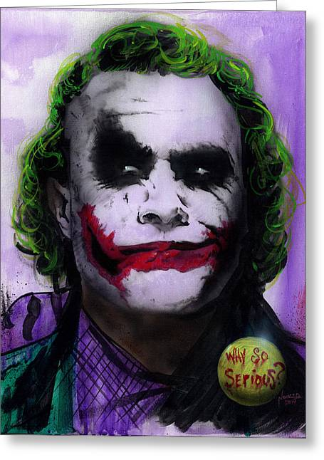 Gotham City Paintings Greeting Cards - Joker 2 Greeting Card by Luis  Navarro