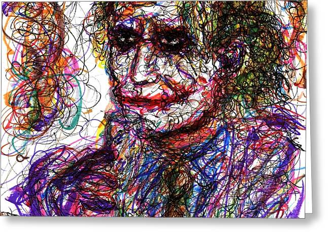Christopher Nolan Greeting Cards - Joker - Anarchy Greeting Card by Rachel Scott