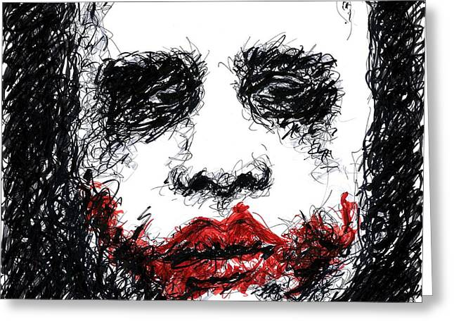 Joker - Black Greeting Card by Rachel Scott
