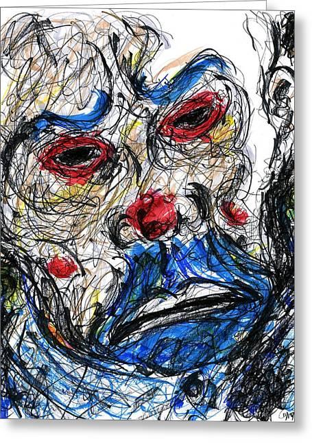 Ledger; Book Greeting Cards - Joker - Clown Mask Greeting Card by Rachel Scott