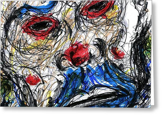 Joker - Clown Mask Greeting Card by Rachel Scott