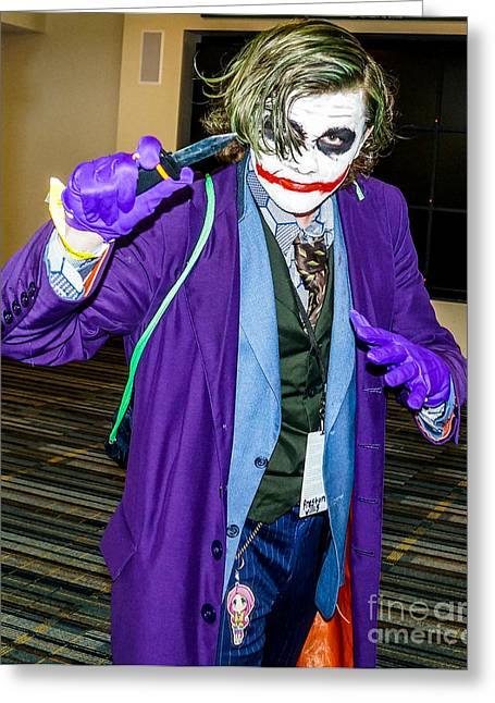 Cosplayers Photographs Greeting Cards - Joker Cosplay Greeting Card by Arturo Vazquez