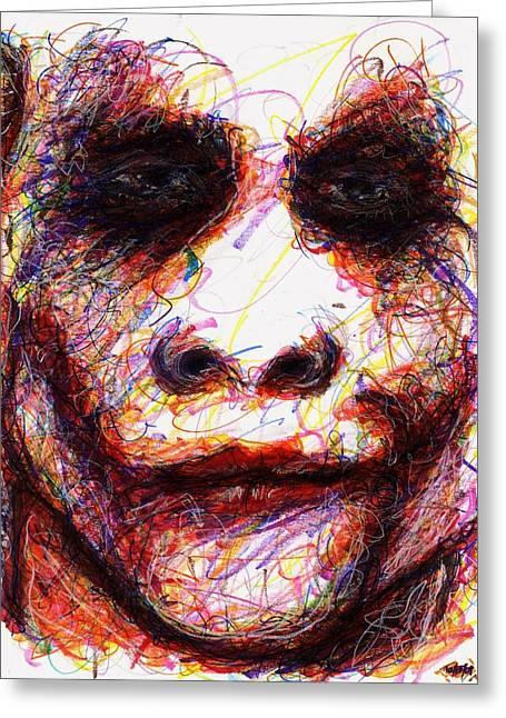 Joker - Eyes Greeting Card by Rachel Scott