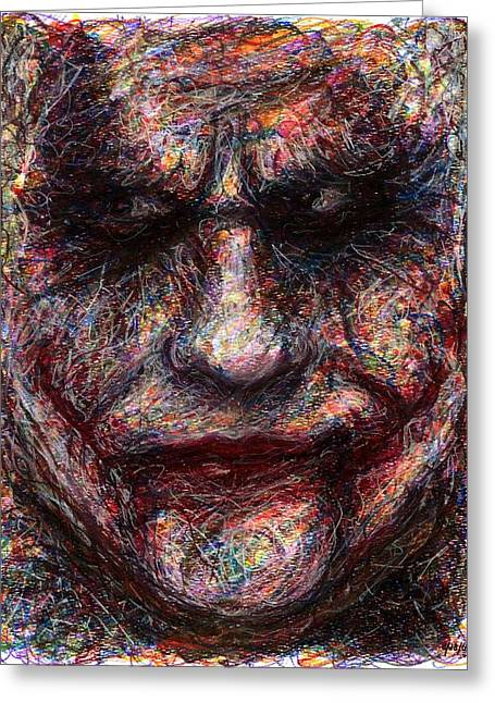 Ledger; Book Drawings Greeting Cards - Joker - Face I Greeting Card by Rachel Scott