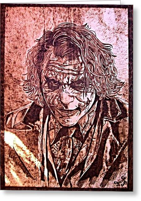 Batman Pyrography Greeting Cards - Joker Greeting Card by G S