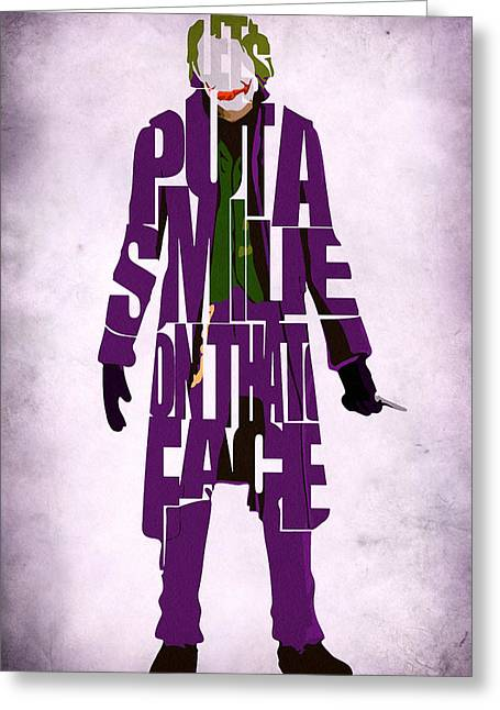 Typography Print Greeting Cards - Joker - Heath Ledger Greeting Card by Ayse Deniz