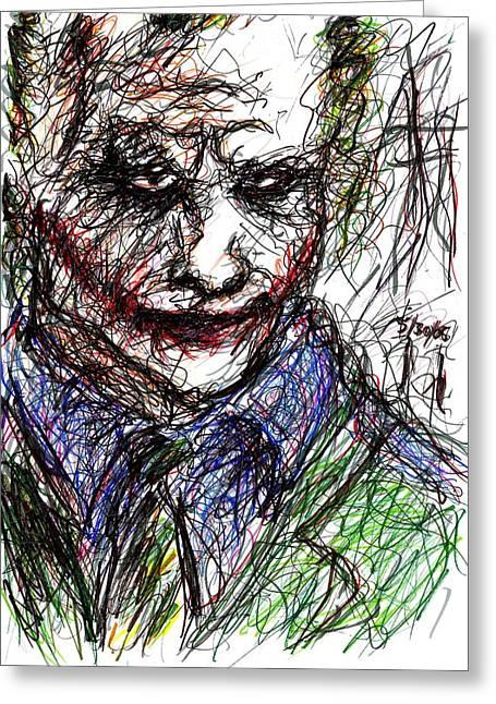 Ledger; Book Greeting Cards - Joker - In Jail Greeting Card by Rachel Scott
