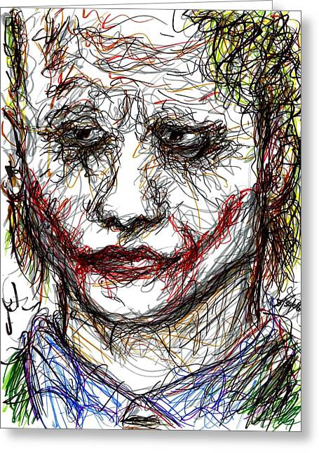 Ledger; Book Drawings Greeting Cards - Joker - Interrogation Greeting Card by Rachel Scott
