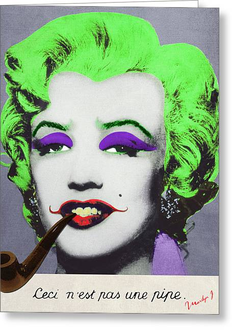 Signature Digital Art Greeting Cards - Joker Marilyn with surreal pipe Greeting Card by Filippo B