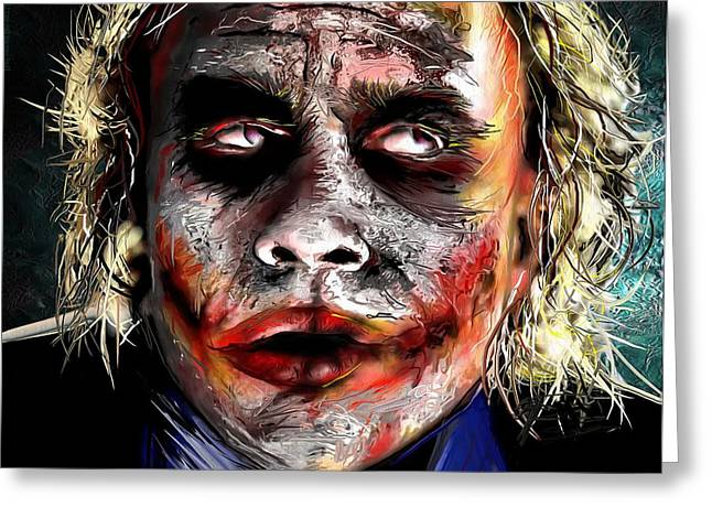 Ledger; Book Paintings Greeting Cards - Joker Painting Greeting Card by Daniel Janda