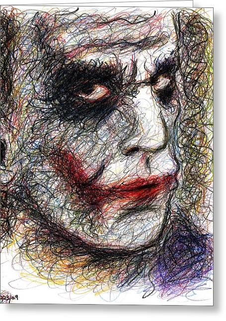 Ledger; Book Greeting Cards - Joker - Pout Greeting Card by Rachel Scott