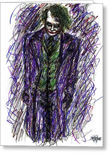 Ledger; Book Drawings Greeting Cards - Joker - Standing Greeting Card by Rachel Scott