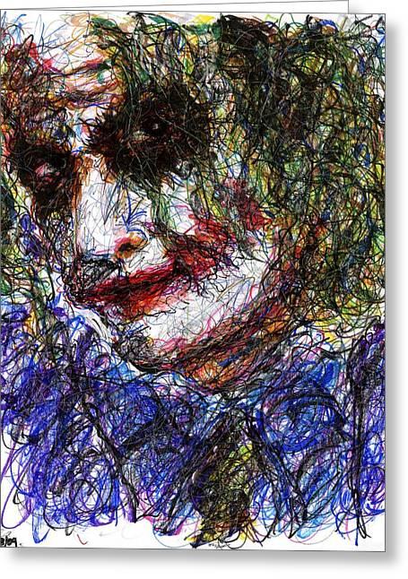 Why So Serious Greeting Cards - Joker - Tilt Greeting Card by Rachel Scott