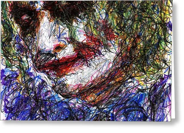 Joker - Tilt Greeting Card by Rachel Scott