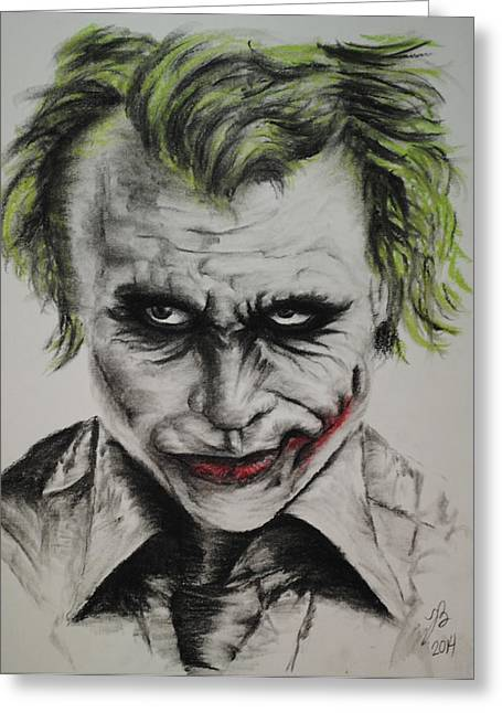 Ledger; Book Drawings Greeting Cards - Joker Greeting Card by Tim Brandt