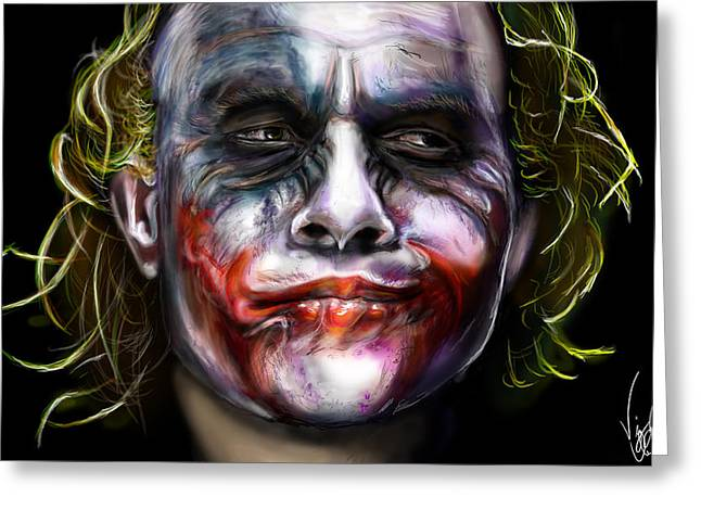 Heath Ledger Greeting Cards - Joker Greeting Card by Vinny John Usuriello
