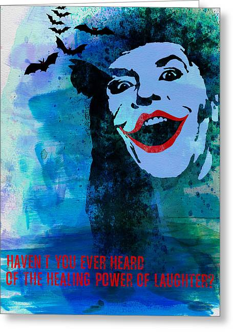 Shows Greeting Cards - Joker Watercolor Greeting Card by Naxart Studio