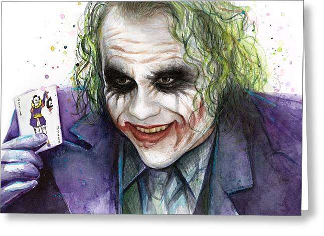 Joker Watercolor Portrait Greeting Card by Olga Shvartsur