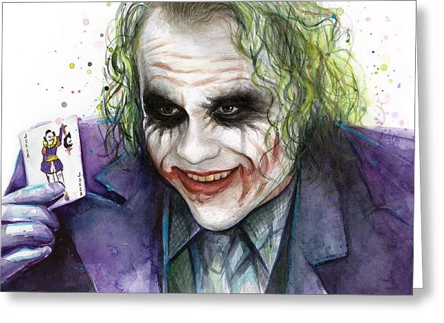Heath Ledger Greeting Cards - Joker Watercolor Portrait Greeting Card by Olga Shvartsur