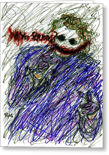 Ledger; Book Drawings Greeting Cards - Joker - Why So Serious Greeting Card by Rachel Scott