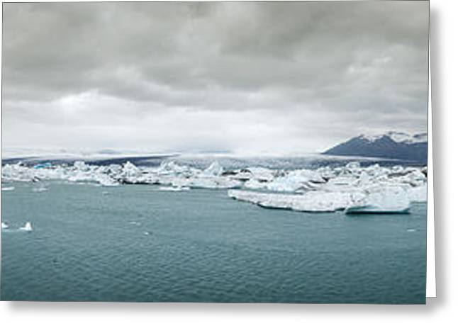 Ocean Vista Greeting Cards - Jokulsarlon Panorama Greeting Card by Andy-Kim Moeller