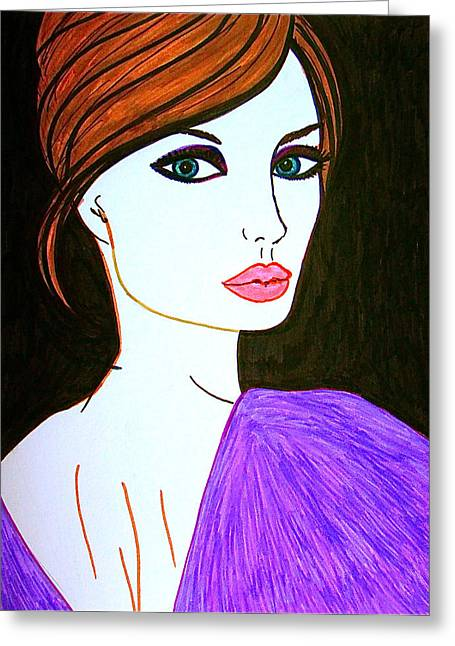 Most Viewed Drawings Greeting Cards - Jolie Greeting Card by Alesya Cabral