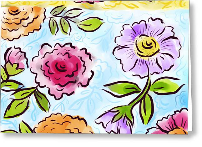 Aster Digital Art Greeting Cards - Jolly Bouquet Greeting Card by Elaine Jackson