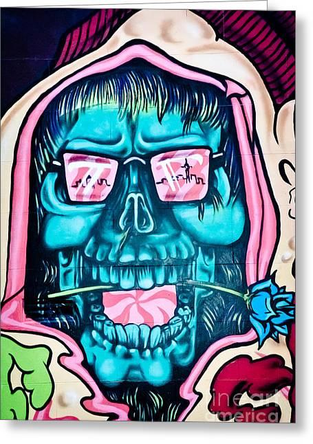 Slam Greeting Cards - Jolly hallucinogenic Skull Graffiti Greeting Card by Yurix Sardinelly