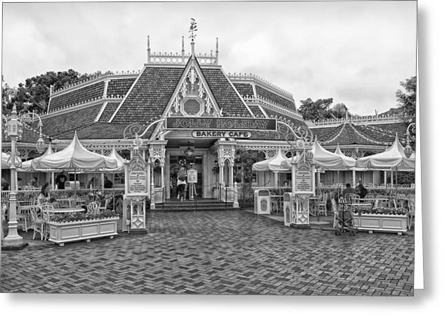 Main Street Corners Greeting Cards - Jolly Holiday Cafe Main Street Disneyland BW Greeting Card by Thomas Woolworth