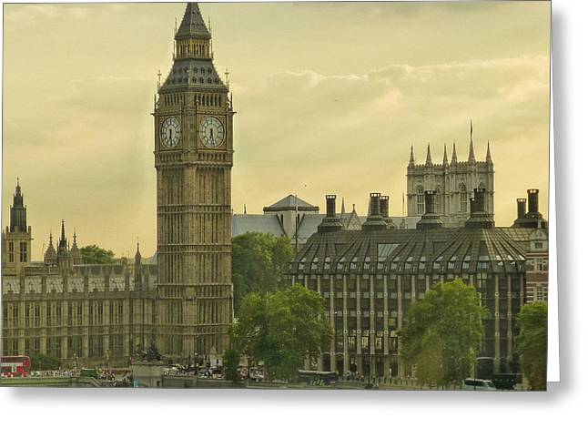 Jolly Olde London Towne Greeting Card by Connie Handscomb