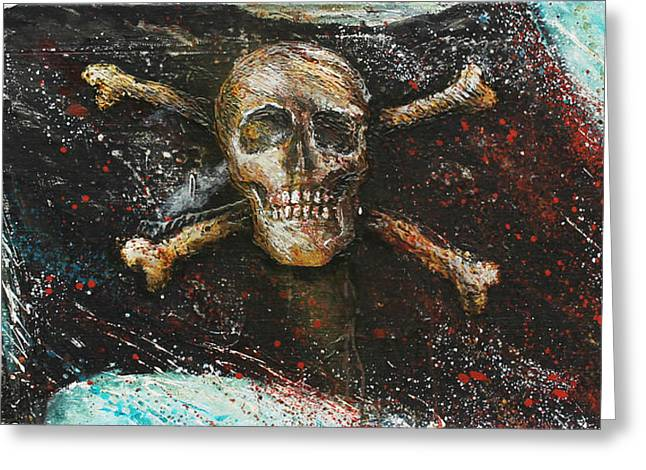 Ahoy Greeting Cards - Jolly Roger Greeting Card by Bill Yurcich