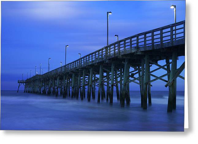 After Sunset Greeting Cards - Jolly Roger Pier after Sunset Greeting Card by Mike McGlothlen