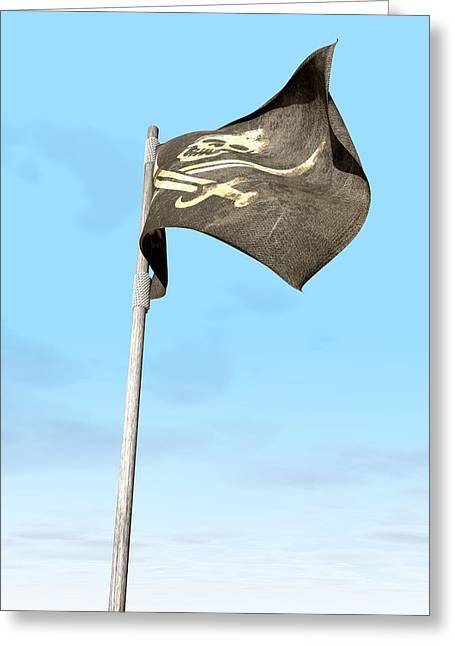 Bootleg Greeting Cards - Jolly Roger Pirate Flag Far Greeting Card by Allan Swart