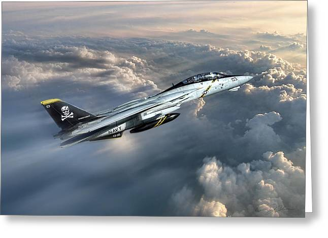 Usn Greeting Cards - Jolly Rogers F-14 Tomcat Greeting Card by Peter Chilelli