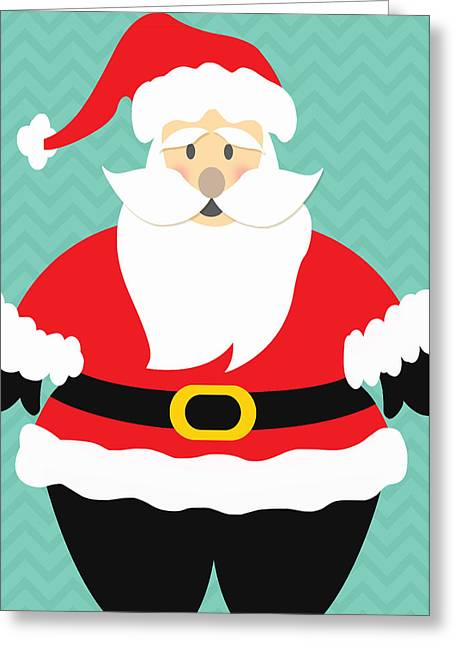 Rosy Greeting Cards - Jolly Santa Claus Greeting Card by Linda Woods